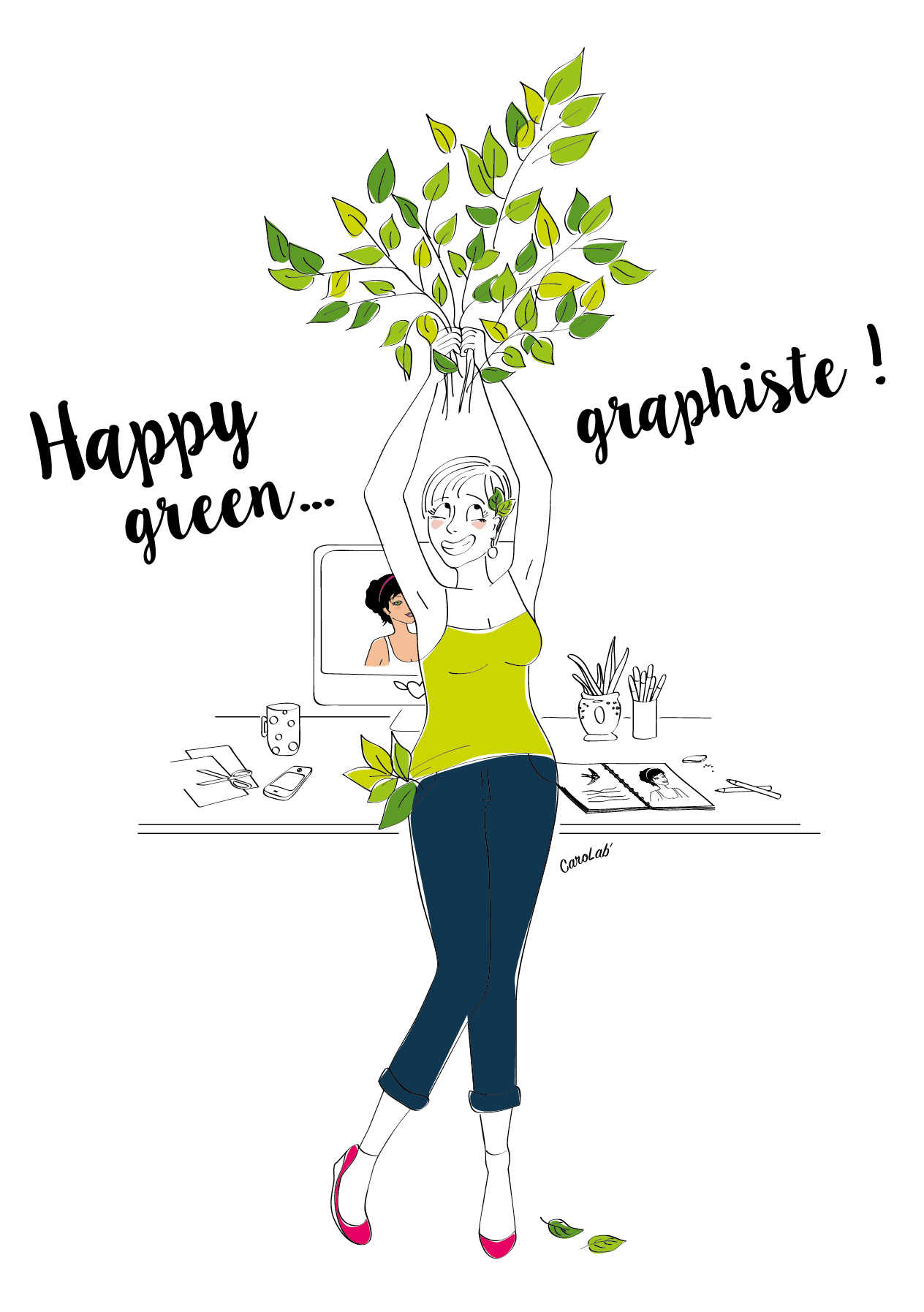 Happy green graphiste
