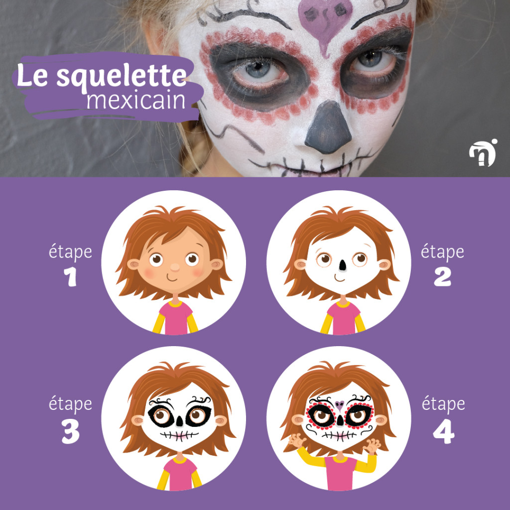 tuto maquillage halloween facile squelette