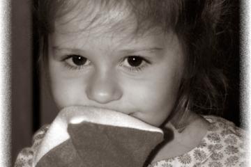 Sylène et son petit gant d'apprentissage